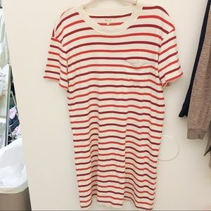 Madewell red and white Striped t-shirt dress